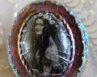 Pretty Shakespearean Woman Polymer Clay Decoupage Brooch