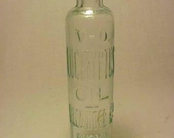 c1890s V-O Eucalyptus Oil The O. Noel Co. Chicago U.S.A., Cork Top Aqua Blown Glass Medicine bottle