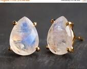 SALE - Rainbow Moonstone Stud Earrings - June Birthstone Post Earrings - Gold Stud Gemstone Earrings - Tear drop Stud - Prong Set studs