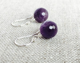 Round Purple Amethyst Earrings, Sterling Silver Hoops, February Birthstone, Gift for Her