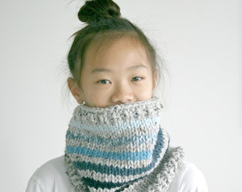 Blue Ombre Knit Chunky Knit Cowl Infinity Scarf
