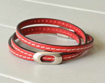 Red Leather Bracelet, Stitched Leather Wrist Strap, Leather Wrap Bracelet, Western Wrist Wear