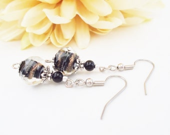 Black Lampwork Glass Earrings, Clip On Earrings, Nickel Free Earrings, Birthday Gift for Mom, Black Drop Earrings, Girlfriend Gift for Her