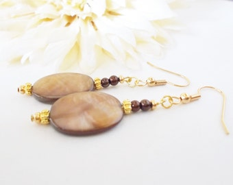 Dark Brown Drop Earrings, Bohemian Mother of Pearl Shell Earrings, Clip On Earrings, Boho Natural Earrings, Statement Earrings, Gift for Her