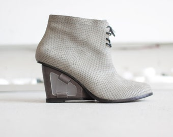 ZURIE - Gray - FREE SHIPPING Handmade Leather Bootie with winter sale price