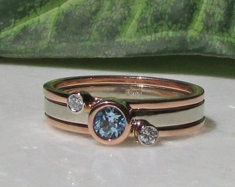 Blue Topaz, Diamond, 14k Solid Rose Gold, 14k Solid white Gold, Stacking Ring Set, 3.5mm Blue Topaz, 2mm Diamonds, Sagittarius, Aries, Gift