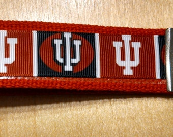 Indiana University Inspired Key Fob/Wristlet on Red