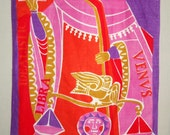 Brightly Colored Orange and Purple Design Representing Libra and Venus on Framable Linen, Vintage