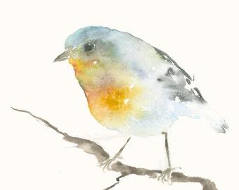 Original Watercolor Painting Blue and Orange Bird