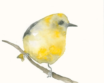 Fine Art Print from Original Watercolor Painting Bright Yellow Bird