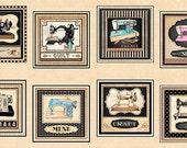 Thimble Pleasures Vintage Sewing Machines Cream 24x44 panel premium cotton fabric from Dan Morris for Quilting Treasures