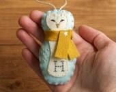 Personalized Barn Owl Christmas Ornament, Felt Owl, Arctic Blue, Baby Boy, First Christmas, Keepsake Ornament, Woodland, Customized Gift