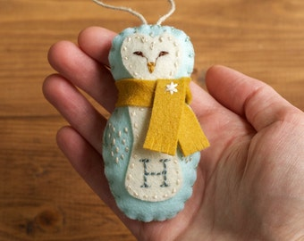 Personalized Barn Owl Christmas Ornament, Felt Owl, Arctic Blue, Baby Boy, First Christmas, Keepsake Ornament, Woodland, Customized Gift