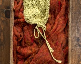 Newborn Photography Prop, Wool Fluff Basket Stuffer, Filler, Rust, Burnt Orange, Textured Wool Batting, Backdrop, Natural, Fleece