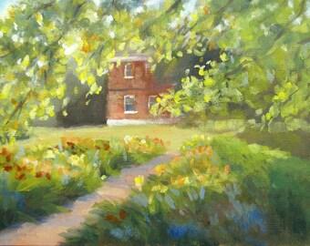 Garden in Afternoon Light - original landscape painting by Keiko Richter