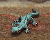 Spring Sale 10% Little Newt Sculpture copper with blue green patina