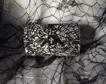 Silver Black Velvet Spider Web Mini Round Goth Gothic Wood Clutch Coin Purse Box