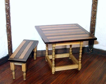 Butcher-Block Table & Bench, Rustic Dollhouse Miniature, 1/12 Scale, Hand Made