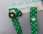 tractor pacifier holder pacifier clip binky clip  pig,  baby shower  gift  paci clip Lily pacifier  holder lets cha cha