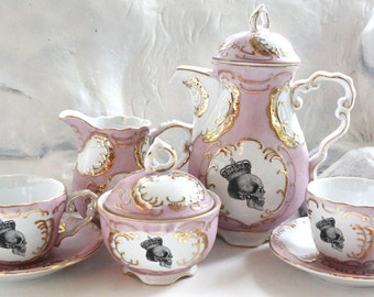 Blue or Pink and Gold Skull Tea Set, Goth Teacup Set, Skull China, Plates available, Steampunk Tea, PAYMENT PLANS AVAILABLE