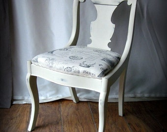 Vintage Accent Chair~Antique White~French Writing Fabric