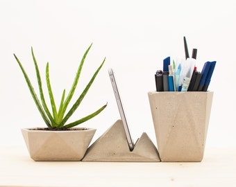 Modern desk accessories - Concrete desk organizer - Modern office decor - Desk accessories kit - Concrete office organizer - Desk gadgets