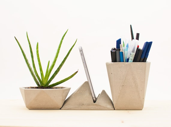 Modern desk accessories concrete desk organizer modern - Designer desk accessories and organizers ...