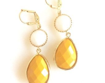 Mint ice teardrop and gold branch teardrop dangle by rusticgem for Mustard colored costume jewelry