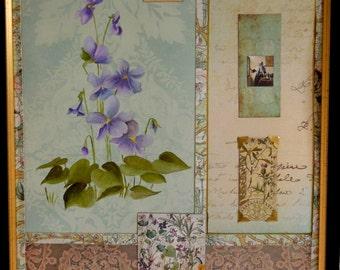 Violet Botanical Mixed Media