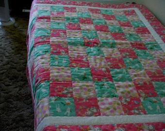 Pink/Green Rabbit Baby Quilt