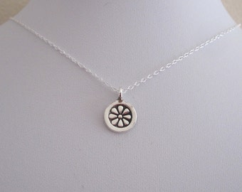 DAISY FLOWER sterling silver coin charm necklace, delicate everyday necklace