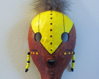 Small Gourd Mask , Brown Yellow Black , Native Style Mask , Wallhanging , Tribal , Handmade , OOAK
