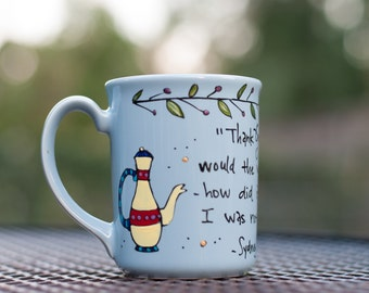 "Sydney Smith ""Thank God for tea!"" Small, pale blue mug - Hand painted with teapot, cup, garland, and quote"