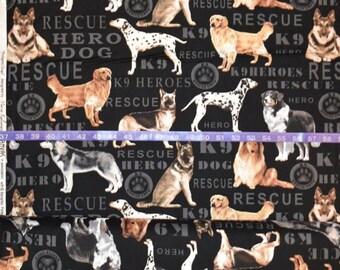Benartex Hero Dogs - Cotton Woven Fabric - Choose your cut
