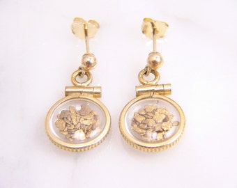 Vintage 14k Gold Nugget Stud Dangle Earrings