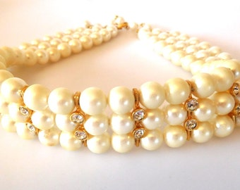 Vintage Faux Pearl/Clear Rhinestone Choker Necklace triple strand Bride  Evening Wear Holidays