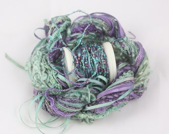 Amethyst purple teal Silk ribbon beaded thread Silk Embroidery thread waldorf doll hair seed bead sequin yarn embellishment weaving supplies