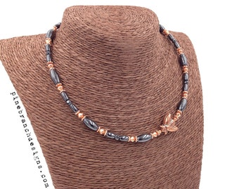 Copper Bee Necklace || Therapy Pure Copper & Black Hematite Magnetic || Magnetic Clasp || Asymetric or Symetric Options