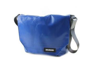 Messenger Bag made from Upcycled Truck Tarp, Laptop Bag, Courier Bag, Eco Friendly and Handmade (K10)