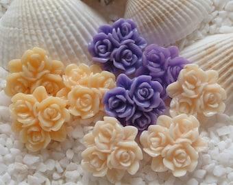 Resin Triple Flower Cabochon - 14mm - 8 pcs - CHOICE OF COLOR