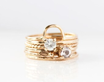 White Sapphire 14k Gold Ring, engagement, yellow gold, alternative, bridal, stacking ring, september birthstone, solitaire gemstone, wedding
