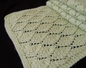 Green Lace Scarf, Knit Lace Scarf, Hand Knit Muffler, Alpaca Blend Scarf, Silk Blend Scarf