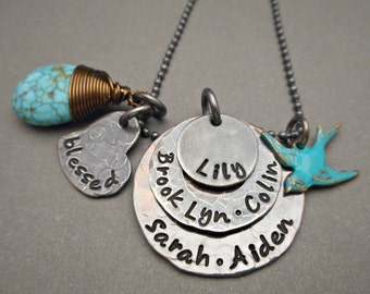 Hand stamped Mom Turquoise necklace - Stacked necklace - Hand Stamped Mommy Necklace - Jewelry for Mom - hand stamped by OrganicRustCreation