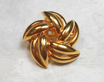 Vintage Brooch, Vintage Pin, Gold Tone, Pinwheel Brooch, Pinwheel Pin, Twisted Flower, Small Pin, Retro Jewelry
