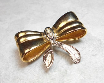 Vintage Rhinestone Brooch Bow Pin Gold Tone Silver Tone Two Tone Retro Womens Costume Jewelry
