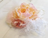 Boutique Style Blush Pink Peach Large Couture-Inspired Floral Hairclip/Headband