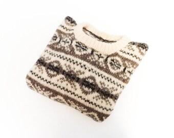 Vintage wool sweater top / Nordic  fair isle Scandinavian Norwegian / cream brown / knit knitted / 1980s 80s / oversized / large medium