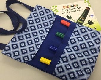 Little Artist Messenger Bag_Blue/ Blue Diamonds