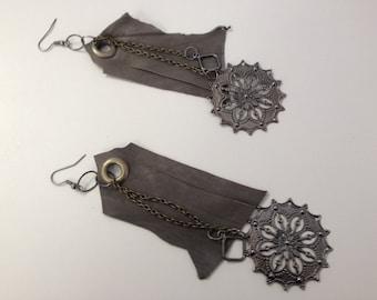 SJ Grey Leather Dangle Earring