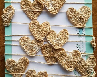Delicate Crochet Heart Garland, Country Christmas, Coffee Stained, Vanilla Scented, shabby chic home decor, handmade garland, christmas tree